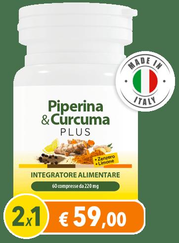 (HTF) PIPERINA & CURCUMA PLUS CON ZENZERO E LIMONE